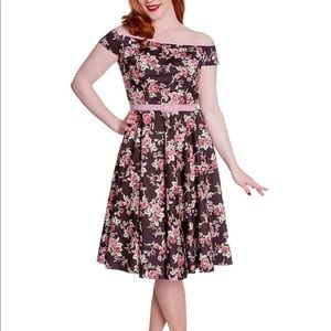 Hell Bunny Vixen Fit Flare Floral Rosie Dress XL